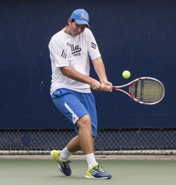 Sophomore Dennis Novikov clinched the team's 4-0 win over Cal Poly on Saturday with a 6-4, 6-4 singles win. The Bruins will compete today to advance to the next stage of the USTA/ITA National Indoor Championships.