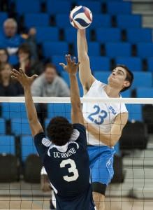Junior outside hitter Gonzalo Quiroga had two service aces to close out the first set of the Bruins' 3-0 victory over the UCSD Tritons on Saturday.