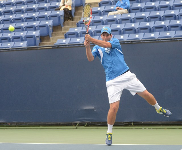 Sophomore Dennis Novikov and the No. 3 UCLA men's tennis team will face University of San Diego at the Los Angeles Tennis Center today.