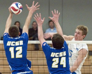 Junior outside hitter Robart Page and the Bruins are looking to get back on a winning track this weekend with two conference matchups.