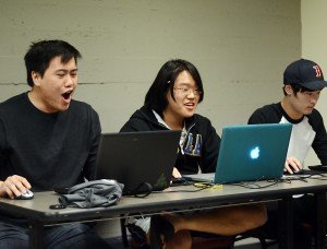 "Li Chang, third-year biology student, Hojoon Choi, second-year economics and psychology student, and Steven Jung, first-year undeclared student, participate in UCLA's  first-ever ""League of Legends"" club."