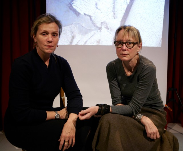 "In her artist lecture ""Bodycast,"" Suzanne Bocanegra (right) details her struggle with a body cast to treat scoliosis during her teenage years and how it influenced her artistic process. It will be performed indirectly with actress Frances McDormand (left) taking on Bocanegra's persona."