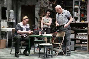 "Writer David Mamet's ""American Buffalo,"" performed at the Geffen Playhouse, focuses on three men named Don (Bill Smitrovich), Teach (Ron Eldard) and Bob (Freddy Rodriguez) who are on the hunt for a Buffalo Head nickel."