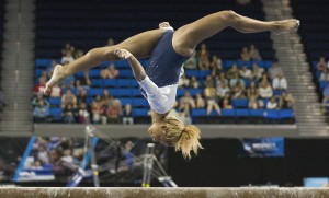 According to UCLA coach Valorie Kondos Field, freshman Danusia Francis' sideways aerial on beam was the first completed at the NCAA level.