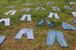 "Jeans lie on the lawns of Meyerhoff Park as part of the Clothesline Project at UCLA's ""Denim Day"" demonstration on Wednesday."