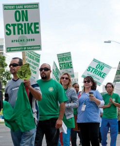 Patient care technical and service workers at Ronald Reagan UCLA Medical Center picket as part of a two-day union strike.