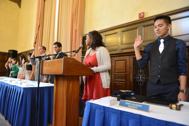 Incoming undergraduate student government officers, including president John Joanino, were sworn into office Sunday.