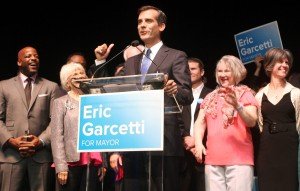 City councilman Eric Garcetti addresses a crowd of about 2,100 supporters Tuesday night, as the votes were being tallied.