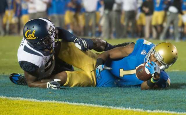 Redshirt senior wide receiver Shaquelle Evans was limited on Saturday against Oregon, as UCLA had just 64 passing yards.