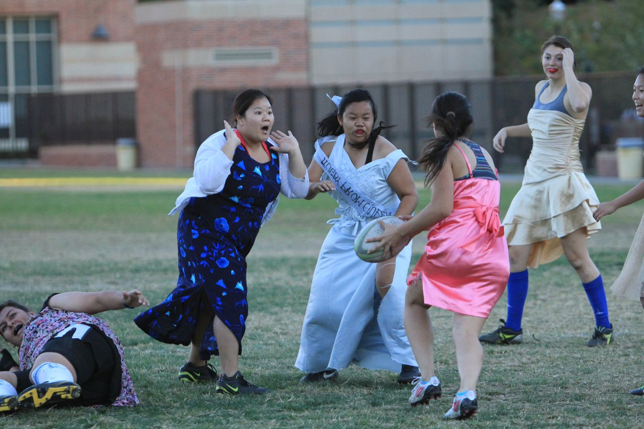 UCLA women's rugby players dress up and