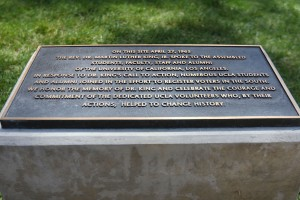 Martin Luther King Jr.'s speech at UCLA on April 27, 1965 is commemorated with a plaque at the bottom of Janss Steps. (Mary Kate Turner/Daily Bruin)