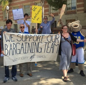 UC faculty and students gathered near Bruin Plaza on Tuesday to rally for negotiations of lecturer benefits and increased job stability. (Courtesy of Mia McIver)