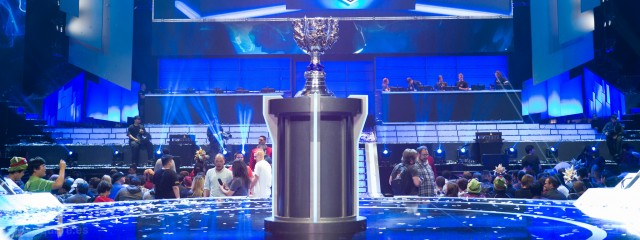 The trophy on display in 2013 for the League of Legends World Championship, the highest-level competition for the game. (Creative Commons photo by artubr on Flickr)