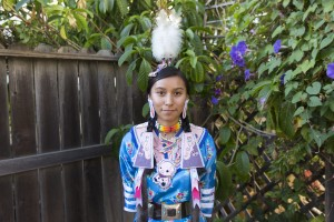 Third-year anthropology student Nikita Bichitty will participate in the American Indian Students  fashion show for Native Heritage Week. At the fashion show, Bichitty will feature attire for Fancy Shawl, a traditional Navajo powwow dance.  (Keila Mayberry/Daily Bruin staff)