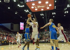 Stanford forward Rosco Allen was one of three Cardinal power forwards that gave UCLA trouble Saturday night. (Owen Emerson/Daily Bruin senior staff)