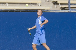 Junior Gage Brymer and the men's tennis team will face a tough opponent this weekend when No. 16 San Diego visits the LA Tennis Center.(Kristen Payne/Daily Bruin)