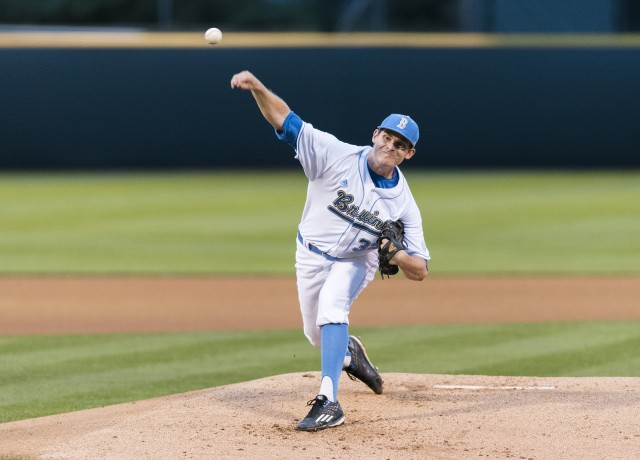 Junior starter Grant Dyer pitched a complete game Saturday to break up two steep losses to Arizona State (Mackenzie Possee/Daily Bruin)