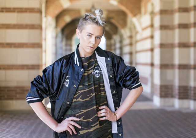 First-year student Matt Sarafa released his first fashion line, called Hot Me$$, on Sept. 14. The line includes unisex bomber jackets and camouflage shirts. (Jennifer Hu/Daily Bruin staff)
