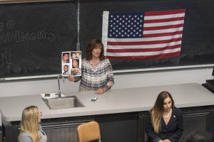 Sabine Durden, the guest speaker for Bruin Republicans' event Thursday, spoke about illegal immigration and Republican candidate Donald Trump's policies in this election. (Miriam Bribiesca/Photo Editor)