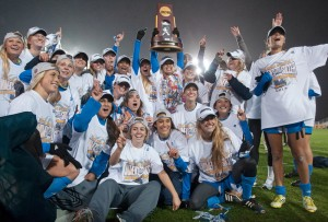 Seven Bruins will participate in the NWSL title game Sunday afternoon. Six of them started on UCLA's 2013 NCAA championships team. (Daily Bruin file photo)