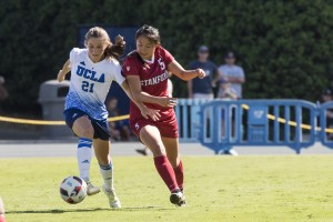 Freshman midfielder Jessie Fleming tied the game against No. 1 Stanford in the 86th minute, but the Cardinal pulled out the victory with a goal in the second overtime period. (Keila Mayberry/Daily Bruin staff)