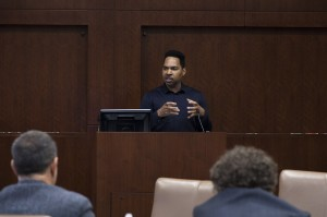 Russell Robinson, a former UCLA law professor, spoke about marriage equality for same-sex couples Thursday at the UCLA School of Law. About 35 students attended. (Kristie-Valerie Hoang/Daily Bruin)