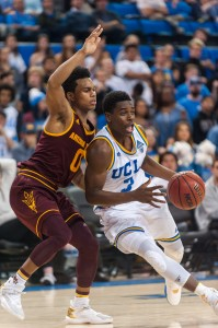 Sophomore Aaron Holiday had eight points in another edition of UCLA's patented run against ASU. The Bruins have utilized these runs en route to a 19-1 record. (Mackenzie Possee/Assistant Photo editor)
