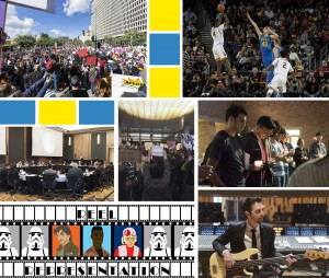 Protests and other expressions of free speech dominated January's Daily Bruin coverage. (Photo collage by Daily Bruin staff)
