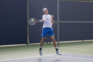 Despite losing 4-0 to No. 1 Virginia and 4-3 to No. 4 Cal this past weekend, junior Austin Rapp said he thinks UCLA isn't far from both teams talent-wise, and that the Bruins can beat both if they improve in doubles. (Erin Rice/Daily Bruin)