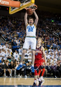 UCLA coach Steve Alford said that freshman forward TJ Leaf, who sprained his ankle during the March 1 game against Washington, has been practicing and is expected back on Thursday. (Aubrey Yeo/Daily Bruin senior staff)