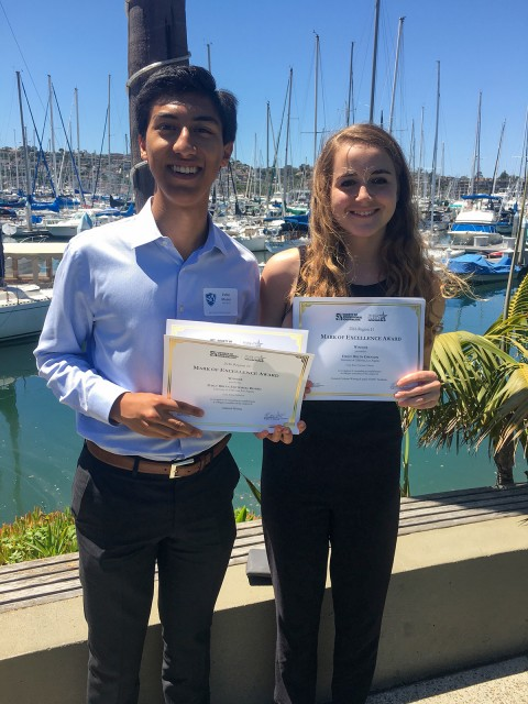 Pablo Muñoz and Madeleine Pauker, assistant News editors at the Daily Bruin, attended the Society of Professional Journalists Mark of Excellence regional awards ceremony in San Diego. (Courtesy of Madeleine Pauker)
