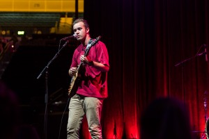 "Fourth-year English student AJ Jaramaz performed calming music for the 5:30 a.m. Dance Marathon crowd, including an original song called ""Church"" and a cover of ""Dancing In The Dark"" by Bruce Springsteen. (Eileen Lising/Daily Bruin)"