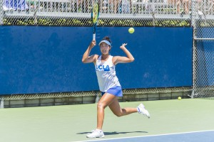 Freshman Ena Shibahara, who was recently named the Pac-12 Singles Player of the Year, lost her match to Pepperdine's Luisa Stefani 7-6 (5), 6-2, as UCLA's NCAA Tournament run ended in the second round. (Daniel Leibowitz/Daily Bruin)
