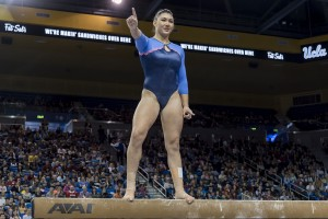 Freshman gymnast and Olympic gold medalist Kyla Ross earned first-team All-American honors on uneven bars and balance beam in her first season. She also led the Bruins with four perfect 10s.  (MacKenzie Possee/Assistant Photo editor)