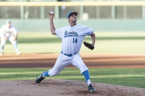 Junior pitcher Jake Bird appeared in 18 games for the Bruins in 2017 and finished the season with a 5-5 record to go along with a 2.75 ERA. Bird also managed to strike out 42 batters in just under 56 innings. Bird is projected to be an early-round pick in the MLB Draft which starts June 12. (Michael Zshornack/Photo editor)