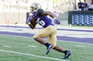 An 82-yard kickoff return by Husky tailback Salvon Ahmed set Washington up to extend what was a one-point lead. (Kristie-Valerie Hoang/Assistant Photo editor)