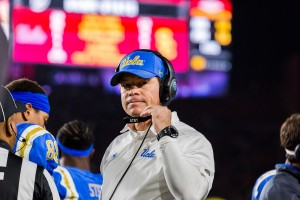 Jim Mora will leave UCLA football after guiding the Bruins to a 46-30 record during his tenure as head coach. (Michael Zshornack/Photo editor)