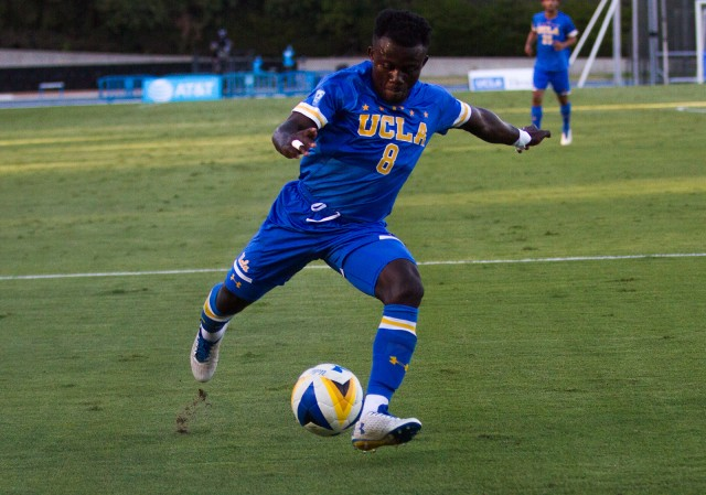 Junior midfielder Anderson Asiedu earned his second goal of the year Sunday against California. It came in the 78th minute of the match and tied the game at two goals per team, but it would not be enough, as the Bruins fell 3-2. (Erin Rice/Daily Bruin)