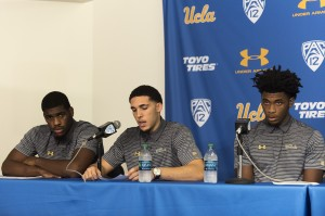 UCLA men's basketball held a press conference Wednesday morning. Cody Riley, LiAngelo Ball and Jalen Hill admitted to shoplifting from three stores in China and apologized to the team, the university, their families and the public. They also thanked President Donald Trump for his involvement. (Michael Zshornack/Photo editor)