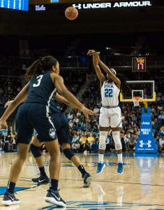 UCLA women's basketball fell to top-ranked Connecticut 78-60 on Tuesday night. Junior forward Kennedy Burke struggled from the field, shooting just 1-of-10 from beyond the arc and 5-of-19 overall. (Isabelle Roy/Daily Bruin)