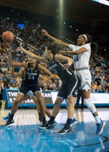 Redshirt junior forward Lajahna Drummer and UCLA women's basketball took home a first place finish at the South Point Thanksgiving Shootout in Las Vegas this past weekend. Drummer scored 10 points in the tournament final against Creighton on Saturday. (Isabelle Roy/Daily Bruin senior staff)