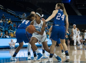 Senior forward Monique Billings and UCLA women's basketball are set to face Baylor's front court which consists of center Kalani Brown and forward Lauren Cox. In last season's matchup, Brown came off the bench to add 25 points and 19 rebounds for the Bears. (ELJONA PINON/DAILY BRUIN)