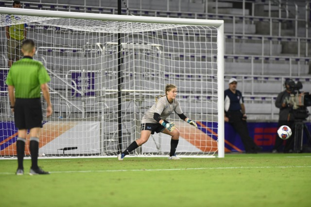 Sophomore goalkeeper Teagan Micah logged a shutout against the Blue Devils in the semifinals Friday. Despite letting three of Duke's penalty kicks past her, Micah saved the final one to put UCLA one goal ahead, logging a semifinals victory for the Bruins. (Axel Lopez/Daily Bruin)