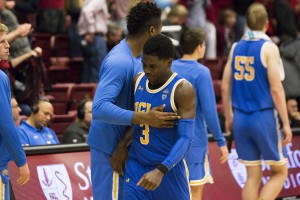 Aaron Holiday led the charge in multiple late-game runs for the Bruins, but the junior guard ultimately couldn't carry UCLA to a win over Stanford. (Michael Zshornack/Photo editor)