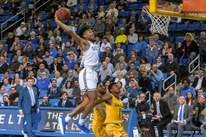 Freshman guard Jaylen Hands finished second on the Bruins with 14 points in Thursday's content, shooting just 4-of-12 from the field but knocking down 5 of 6 free throws. (Owen Emerson/Daily Bruin senior staff)