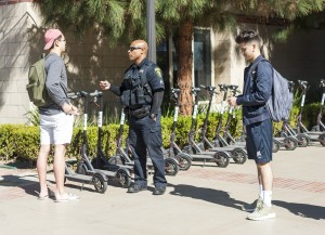 University police have begun issuing warnings to students riding Birds without helmets. Officers gave 43 warnings and three citations Friday,  said UCPD Lt. Kevin Kilgore. (Nathan Smith/Daily Bruin senior staff)