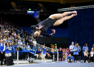 Junior Katelyn Ohashi scored a perfect 10 on floor exercise in No. 3 UCLA's win over No. 8 Oregon State. The Bruins posted a season-high score of 198.075, their first score over 198 of the season. (Aubrey Yeo/Daily Bruin senior staff)