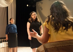 "First-year theater students Isabella Urdiales Guzman and Lillie Muir, and second-year theater student Camila Rozo (left to right) star in UCLA's upcoming production of ""Mala Hierba,"" which features an all-Latinx cast. The play uses visual and auditory design elements, including props and lighting, to further explore the story's characters and its focus on Latin American culture. (Niveda Tennety/Daily Bruin)"