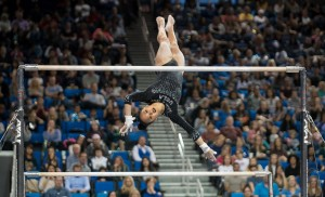 Peng-Peng Lee led the Bruins with two perfect scores on balance beam and the uneven bars. After Sunday's meet, the redshirt senior has seven perfect 10 scores on her career. (Liz Ketcham/Daily Bruin)