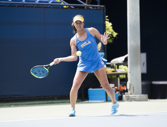 No. 8 sophomore Ena Shibahara defeated her Oregon opponent in straight sets on Sunday, taking home her first singles win in three matches. The sophomore also won in doubles with partner junior Alaina Miller, clinching the doubles point for the Bruins. (Alice Naland/Daily Bruin)